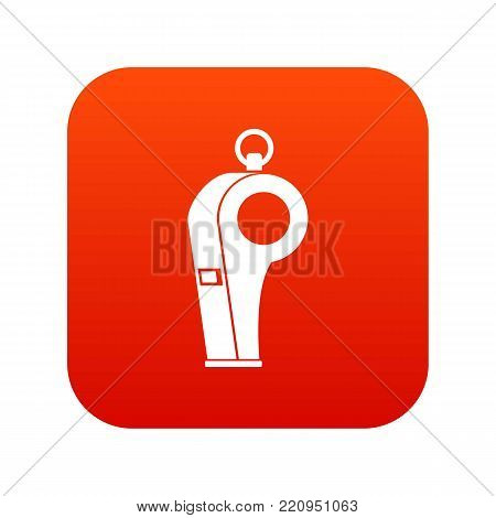 Whistle of refere icon digital red for any design isolated on white vector illustration