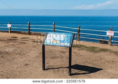 Rancho Palos Verdes, California - September 9, 2017:  An Information Board On The Seascape Trail Wit