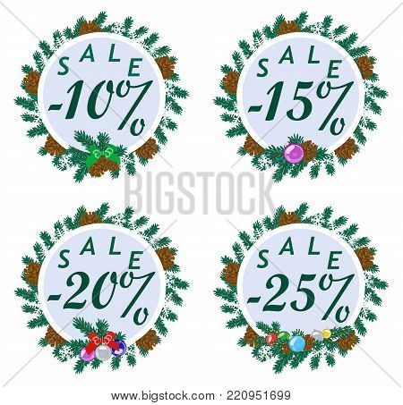 Vector colored set of round stickers decorated with fir branches, snowflakes, balls and cones with discount in the center. Winter sale.