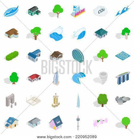City element icons set. Isometric style of 36 city element vector icons for web isolated on white background