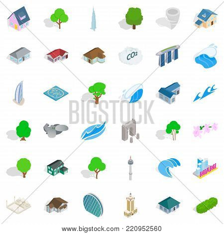 Town element icons set. Isometric style of 36 town element vector icons for web isolated on white background