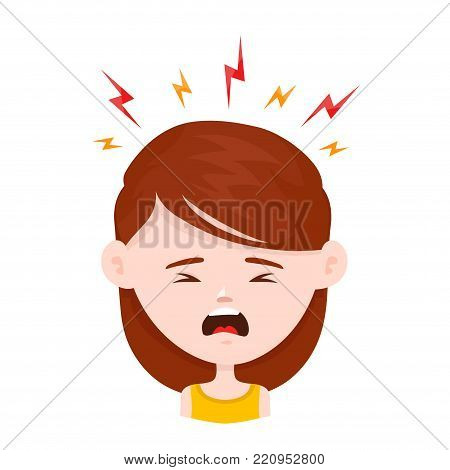 Woman young girl in stress. Vector flat cartoon character icon design. Isolated on white background. stress concept