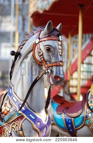 Close up of a white Carousel Horse