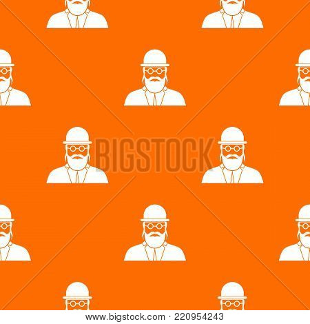 Orthodox jew pattern repeat seamless in orange color for any design. Vector geometric illustration