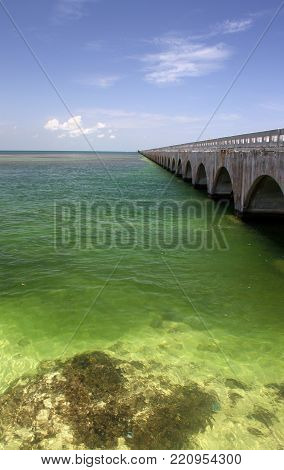 Old Seven Mile Bridge near Key West, Florida Keys, FL.