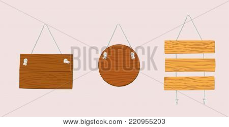 Wooden plaque hanging on a rope attached to the wall