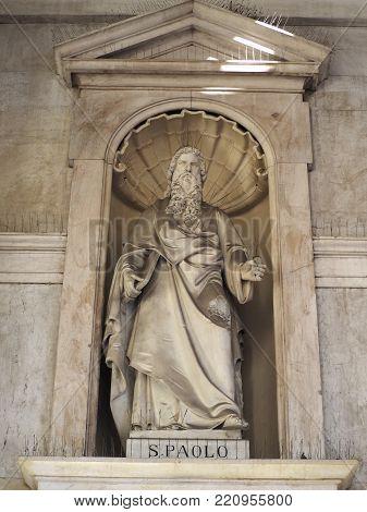 TURIN, ITALY - CIRCA JANUARY 2018: Saint Paul statue (San Paolo in Italian) outside Santissima Annunziata parish church