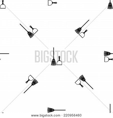 Broom and dustpan pattern repeat seamless in black color for any design. Vector geometric illustration
