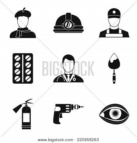 Working profession icons set. Simple set of 9 working profession vector icons for web isolated on white background