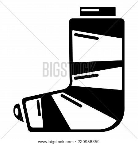 Foot in plaster icon. Simple illustration of foot in plaster vector icon for web.
