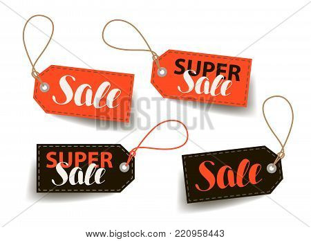 Sale, price tag. Shopping, trade, cheap label. Lettering vector illustration isolated on white background