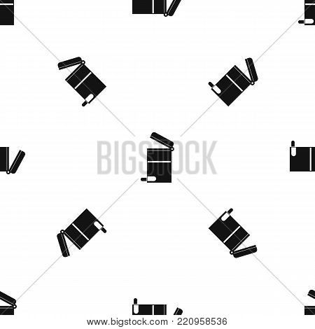 Steel trashcan pattern repeat seamless in black color for any design. Vector geometric illustration