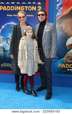 LOS ANGELES - JAN 6:  Lou Diamond Phillips, wife, daughter at the
