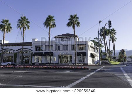 Palm Desert, CA - December 12, 2017 - Shops on El Paseo at the corner of El Paseo and Monterey Ave./Highway 74. El Paseo is known as the Rodeo Drive of the Desert.