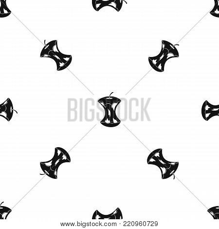 Apple core pattern repeat seamless in black color for any design. Vector geometric illustration