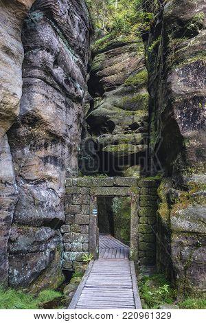 Stone gateway in Teplice Rocks, part of Adrspach-Teplice landscape park in Czech Republic