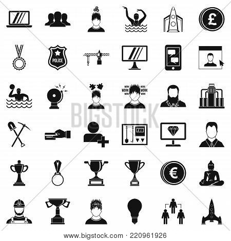 Leadership icons set. Simple style of 36 leadership vector icons for web isolated on white background