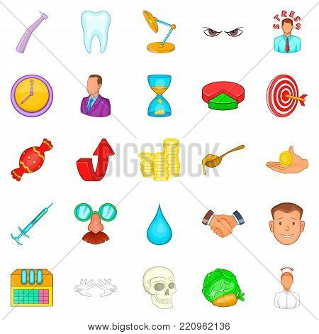 Dentist icons set. Cartoon set of 25 dentist vector icons for web isolated on white background
