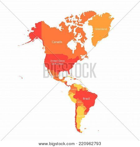 Vector South America and North America map with countries borders. Abstract red and yellow American countries on map isolated on white background
