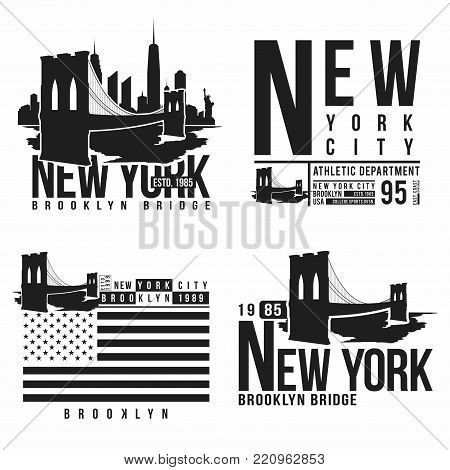 Set of New York, Brooklyn Bridge typography for t-shirt print. Stylized Brooklyn Bridge silhouettes. Tee shirt graphic, t-shirt design. Vector