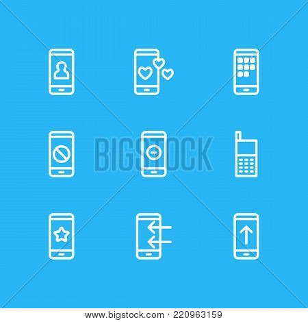 Vector illustration of 9 phone icons line style. Editable set of decoration, favorite, call and other elements.