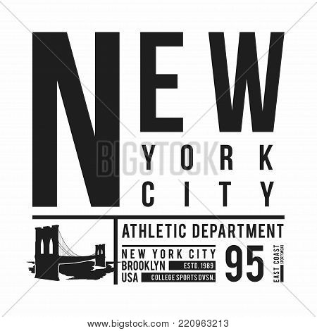 New York, Brooklyn Bridge typography for t-shirt print. Stylized Brooklyn Bridge silhouette. Tee shirt graphic, t-shirt design. Vector