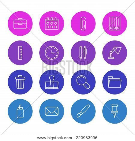 Vector illustration of 16 stationery icons line style. Editable set of dossier, portfolio, pencil and other elements.