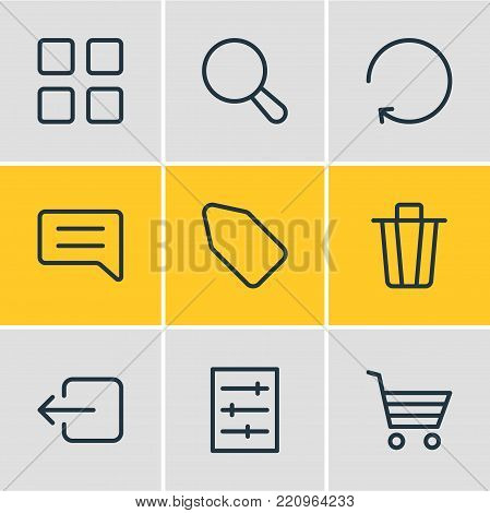 Vector illustration of 9 application icons line style. Editable set of sign out, search, comment and other elements.