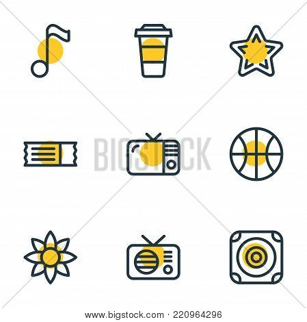 Vector illustration of 9 entertainment icons line style. Editable set of coupon, favorite, plastic cup and other elements.