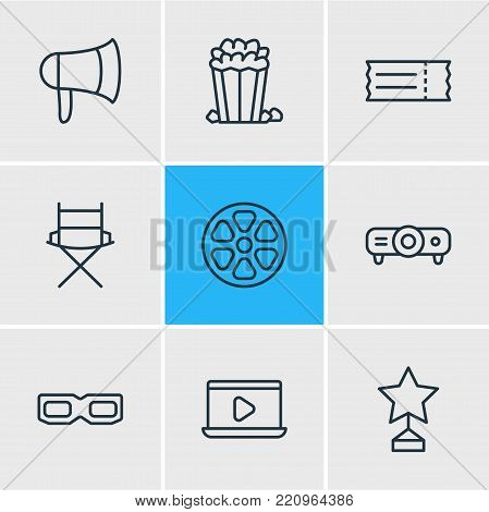 Vector illustration of 9 movie icons line style. Editable set of bullhorn, projector, 3d glasses and other elements.