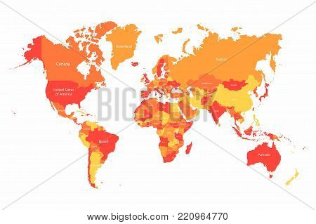 Vector World map with countries borders. Abstract red and yellow World countries on map. Planet Earth with borders