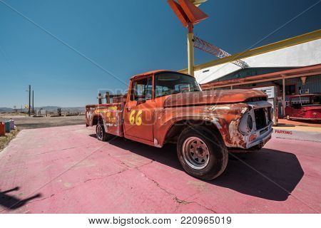Old car near historic route 66 in California, USA