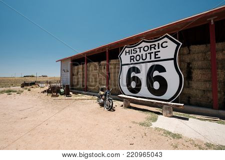 Old motorcycle near historic route 66 in California, USA