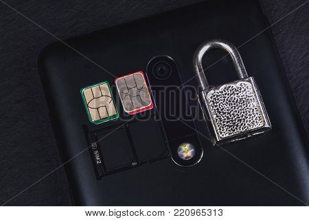 sim card and lock next to the camera smartphone
