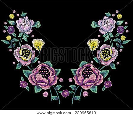 Embroidery traditional neckline pattern with pale roses. Vector embroidered floral design with flowers for wearing.
