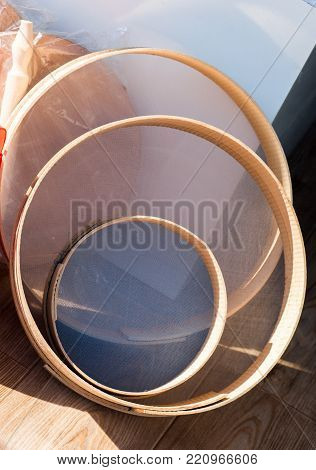 Set of Traditional type sieve made of wood