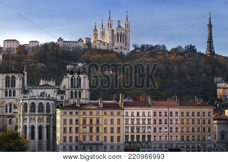 Lyon city and fourviere hill in front of the saone river, Rhone alpes auvergne, France