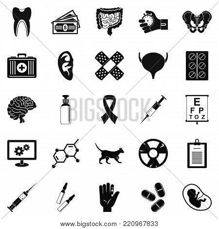 Diagnosis of body icons set. Simple set of 25 diagnosis of body vector icons for web isolated on white background