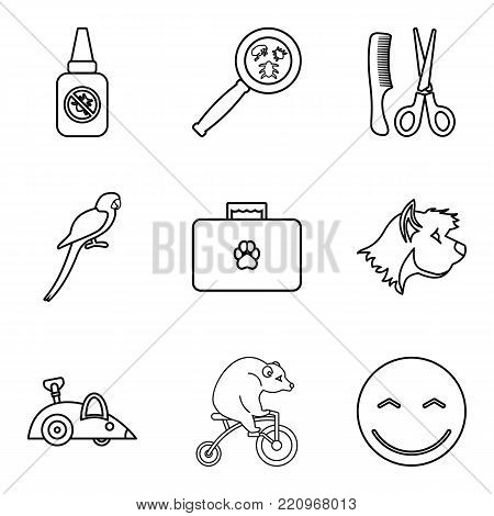 Domestic animal icons set. Outline set of 9 domestic animal vector icons for web isolated on white background