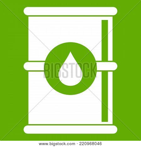 Barrel of oil icon white isolated on green background. Vector illustration