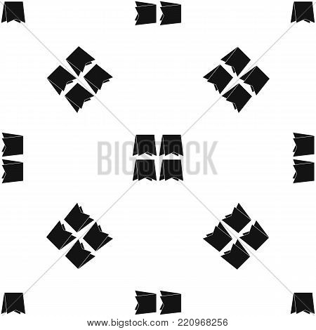 Pennants pattern repeat seamless in black color for any design. Vector geometric illustration