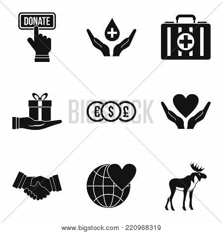 Offering icons set. Simple set of 9 offering vector icons for web isolated on white background