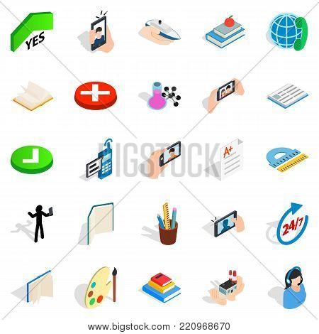 Interlocution icons set. Isometric set of 25 interlocution vector icons for web isolated on white background