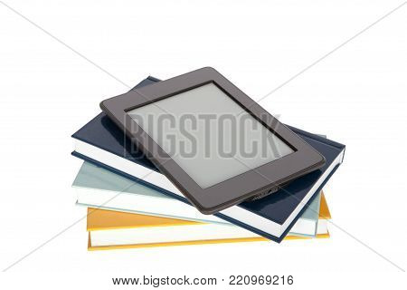 Ebook reader with empty screen on top of paper books. Isolated on white.