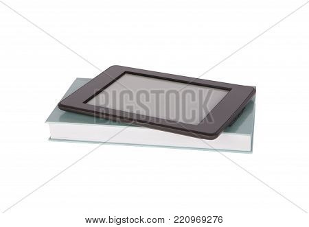 Ebook reader tablet with blankscreen on top of a paper book. Isolated on white.