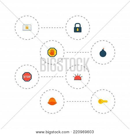 Icons flat style stop, laptop, helmet and other vector elements. Set of security icons flat style symbols also includes lock, padlock, bomb objects.