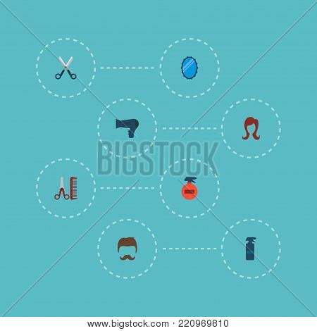Icons flat style hairdresser, hairdryer, hairspray and other vector elements. Set of hairdresser icons flat style symbols also includes hairstyle, bottle, hairdresser objects.