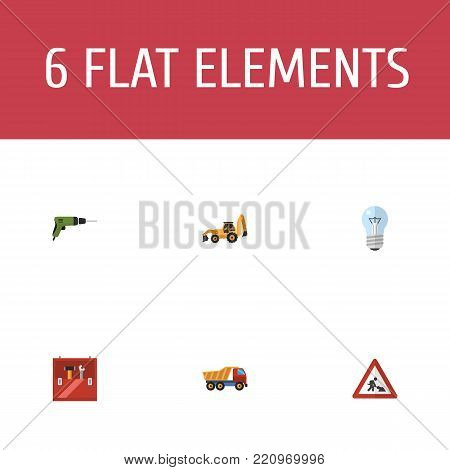 Icons flat style drill, workman sign, toolbox and other vector elements. Set of industry icons flat style symbols also includes repair, tractor, backhoe objects.