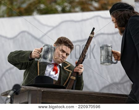 ST. PETERSBURG, RUSSIA - JULY 19, 2017: Artem Melikhov (left) and Pavel Shmulevich in the opera The Marksman of C. M. von Weber outdoors during the festival All Together Opera