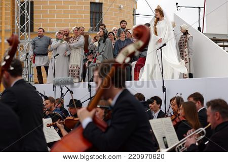 ST. PETERSBURG, RUSSIA - JULY 12, 2017: Actors and musicians perform the opera Ruslan and Lyudmila outdoors during the festival All Together Opera. It was first of 4 performances